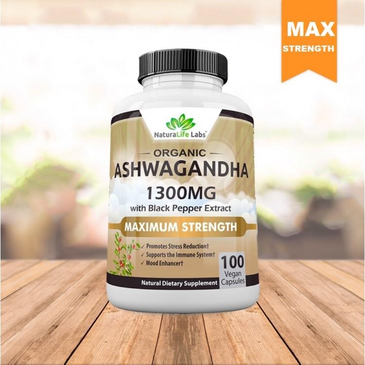 Premium Ashwagandha 1300mg - 100 vegan capsules 100% Pure Organic